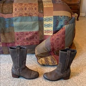 Ugg brown Jaspan leather pull on winter boots 7.5